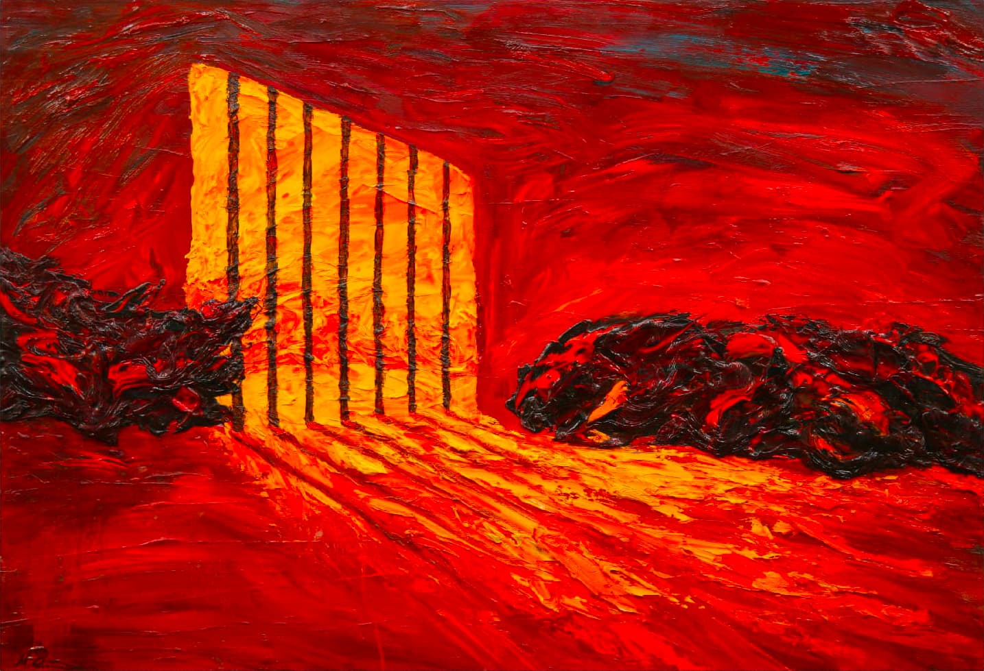 MIMMO-CENTONZE-182-Prigione-2011-Olio-e-alchidico-su-tela-90x130-cm